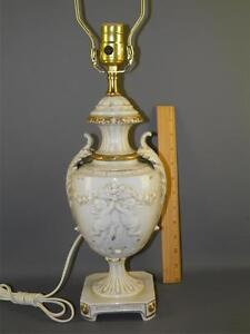 Antique Classical White German Porcelain Table Lamp Cherubs Acanthus Leaf Marked