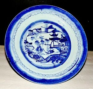 Chinese Export Blue White Canton Plate Under Glazed 9 1 4 Inches