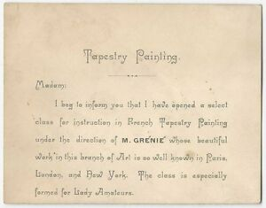 1882 Victorian Tapestry Painting Class Card For Barthelemy Grenie