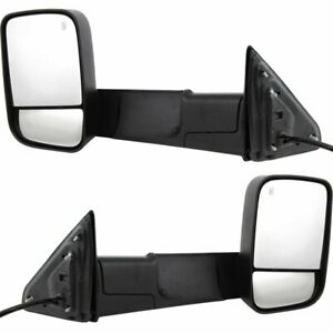 Towing Mirror Set For 2013 2018 Ram 1500 2500 Lh And Rh Heated Textured Black