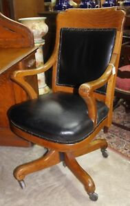 Antique American Golden Oak Roll Top Revolving Leather Office Desk Chair C 1920
