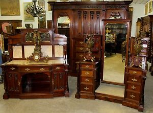 Antique Carved English Edwardian Solid Mahogany 3 Piece Bedroom Set W Bed C1890