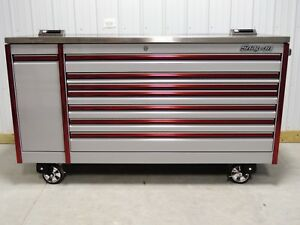 Snap On Arctic Silver Red Trim 84 Epiq Toolbox Stainless Steel Power Top
