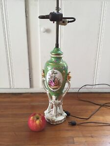 Antique French Porcelain Table Lamp Hand Painted