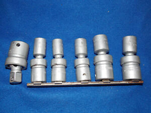 7 Piece Snap on 1 2 Inch Sae Swivel Impact Socket Set W Extension 6 Pt Shallow