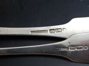 Two Antique American Coin Silver Serving Spoons Henderson Poughkeepsie Ny 8 7 8