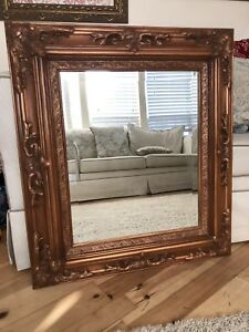 Large Antique Beveled Wall Mirror Ornate Wood Frame