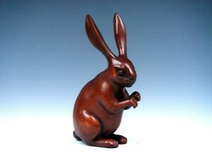 Boxwood Hand Carved Japanese Netsuke Sculpture Long Ear Rabbit Standing 031019