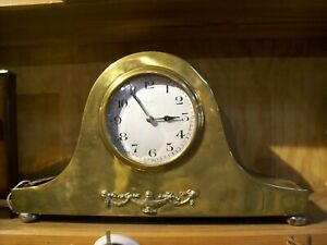 Antique Brass 8 Day French Mantel Clock With Nice Escapement Movement