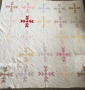 Antique Vtg Handmade Quilt Feedsack Patchwork Sawtooth Hand Quilted 1800s 80