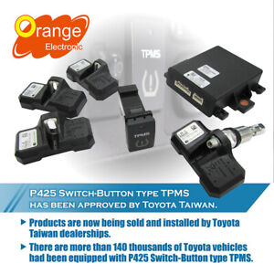 Orange P425 Button Switch Type Real Time Tpms System Fit Toyota All Models