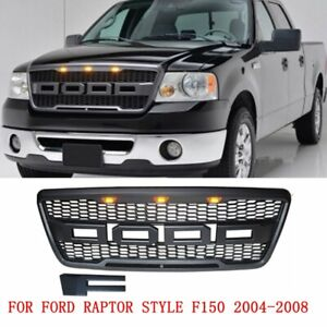 Black Front Mesh Grille Raptor Style With 3 Amber Led W fr For Ford F150 2004 08