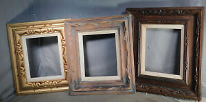 3 Vintage Mid Century Modern Abstract Painting Picture Frame 1960s 8x10 Carved