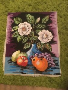 Large Vintage Wool Tapestry Anchor Fruit And Flowers Used Good Condition