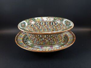 Antique Chinese Export Rose Medallion Pierced Fruit Basket And Undertray 19th C