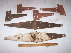 6 Vintage Assorted Non Matching Strap Hinges Hardware Barn Gate Door