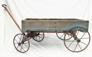 Old Antique 1880 S Toy Wooden Wagon Spoke Wheels Primitive Original Blue Paint