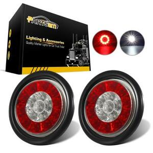 2xred White 16 Led 4 Multi Function Stop Turn Tail Reverse Lights Grommet Mount