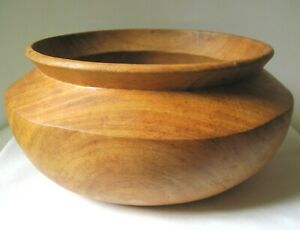 Large Vintage Turned Wood Bowl With Swirls Circles
