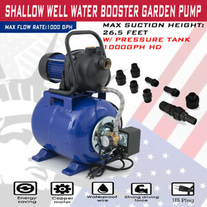 1 6 Hp Electric Booster Pump 1200w 3500l h Shallow Well Garden Water Pressure A