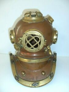 Vintage Cooper And Brass Diving Helmet Antique Nautical Mask Decorating Accent
