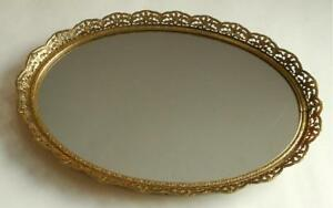 Vintage Gold Filigree Oval Vanity Dresser Top Tray Or Wall Mirror 12 X 8 3 4