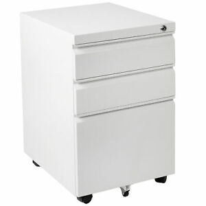 Vivo White 3 Drawer Mobile File Cabinet With Lock Rolling Pedestal Cabinet