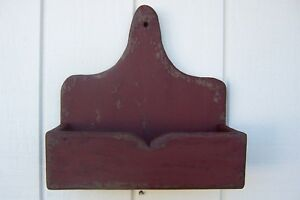 Primitive Rustic Country Shelf Wall Candle Mail Box Sconce Farmhouse Holder Salt