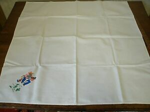 Vintage Hand Embroidered Tablecloth W Mexican Mariachi Cactus 32x33 T5