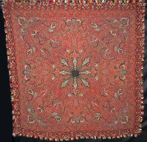 Antique Wool Paisley Shawl Patchwork Hand Embroidery 1860s