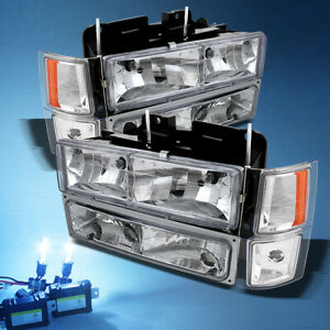 8000k Slim Xenon Hid chevy Tahoe Silverado Crystal Head Corner Bumper Lights