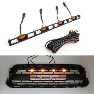 Front Bumper Hood Grille Led Lights W Wire Harness For Tacoma 2012 2015 Amber