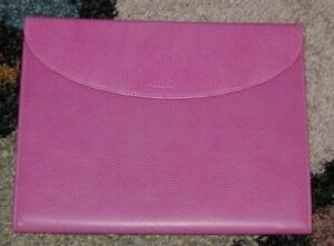 Filofax Finsbury Trifold Conference Folder Pink Grained Leather Model 827315
