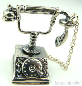 Miniature Sterling Silver Vintage Style French Telephone 228