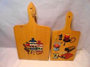 2 Vintage Wood Cutting Boards 15 Nelco And Other Great Grafics Spices
