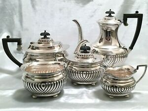 Vintage Antique English Silver Silverplate Coffee Tea Set 5 Piece Full Service