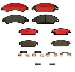 Front And Rear Ceramic Brembo Brake Pad Set Kit For Cadillac Chevy Tahoe Gmc