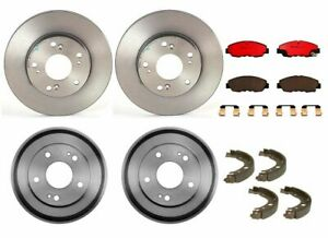 Full Brembo Brake Kit Front Disc Rotors Pads Rear Drums Shoes For Honda Civic