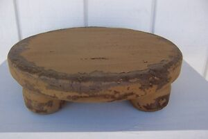 Primitive Round Rustic Painted Pine Country Farm Table Riser Farmhouse Bench