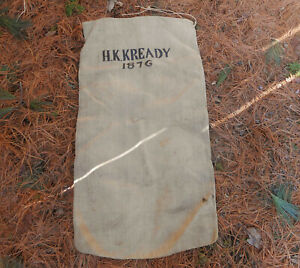 Stunning Stenciled H K Kready 1876 Antique Heavy Hemp Linen Feed Grain Bag Sack