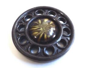 Vintage Art Deco Celluloid Carved Large Button 2 In Diameter