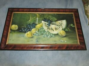 Antique Victorian Grain Painted Picture Frame Fruit Print Old Wavy Glass