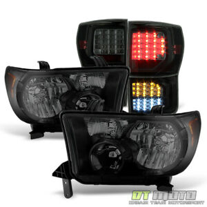 For Cyber Black 07 13 Toyota Tundra Headlights Full Led Tail Lights Left Right