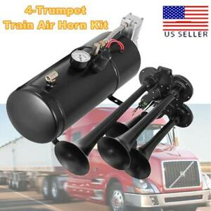 Loud 150db 4 trumpet 150 Psi Air System metal 12v Air Horn Kit For Boat Truck