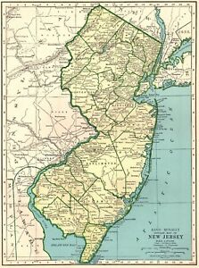 1942 Antique New Jersey State Map Vintage Map Of New Jersey Wall Art 6494