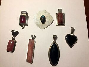 925 Sterling Silver Pendant Lot Of 7 Not Scrap Beautiful Smooth Stone 86 Grams