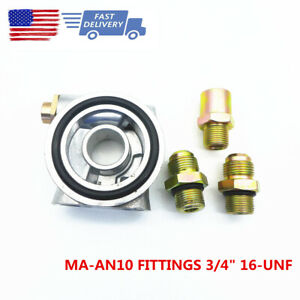 An10 Fittings 3 4 16unf Oil Cooler Filter Sandwich Plate Thermostat Adaptor