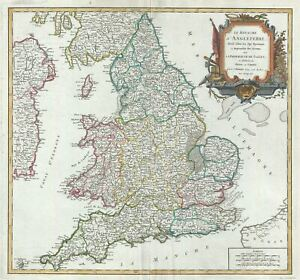 1753 Vaugondy Map Of England And Wales