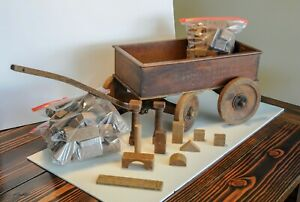 Vintage Antique 1930 S Boys Delight Wooden Wagon With Wooden Blocks