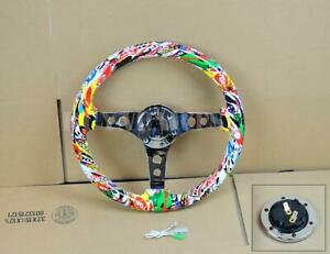 14 Wood Grip Mirror Chrome S s Spoke Steering Wheel White Skull Graffiti